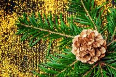 与金黄装饰的静物画概念 免版税库存图片