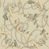 与金黄链子的无缝的巴洛克式的印刷品,辫子,珍珠,传送带,缨子,织品设计的巴洛克式的elments 向量例证