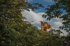 与金黄雕象的叶茂盛树反对蓝色多云天空在巴黎 免版税库存照片