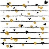 与金黄五彩纸屑的抽象装饰传染媒介背景 免版税库存照片