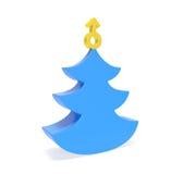 与金黄人标志的创造性的蓝色圣诞树 图库摄影
