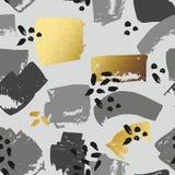 与金黄刷子冲程的抽象无缝的样式 打印的装饰背景 皇族释放例证