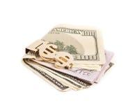 与金黄夹子的美元 图库摄影