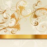 与金黄带的花卉背景 图库摄影