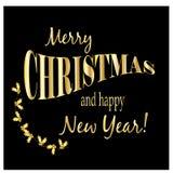 与金黄文本的圣诞卡 免版税库存照片