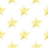 与金黄星的水彩无缝的样式 圣诞节或新年印刷品包装纸、卡片或者纺织品设计的 库存照片