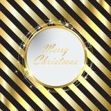与金黄条纹的黑圣诞节背景 库存图片