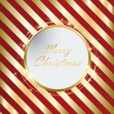 与金黄条纹eps10的红色圣诞节背景 库存例证