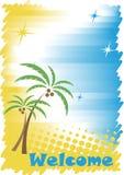 与金黄沙子、大海和棕榈的晴朗的热带海岸 皇族释放例证