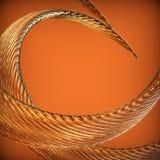 与金黄波浪扭转的丝带的抽象背景。 免版税库存照片