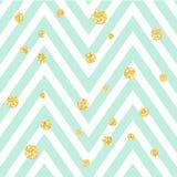 与金黄淡光圆点的雪佛之字形蓝色和白色无缝的样式 传染媒介几何条纹,闪烁斑点 库存照片