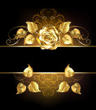 与金黄玫瑰的横幅 库存照片