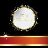 与金黄球和闪亮金属片eps10的典雅的圣诞卡 向量例证
