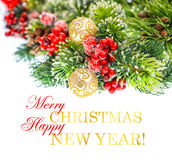 与金黄球的圣诞树分支 免版税库存图片
