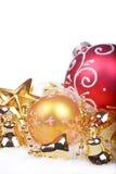与金黄球的圣诞节背景 库存图片