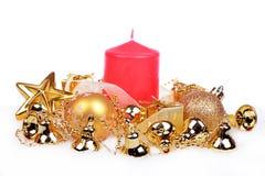 与金黄球的圣诞节背景 免版税图库摄影