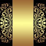 与金黄皇家边界和丝带的豪华背景。 免版税库存照片