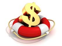 与金黄美元的符号的红色Lifebuoy在白色背景 库存图片