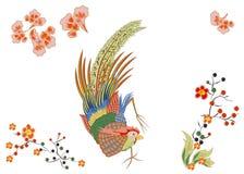 与金黄羽毛的美妙的大鸟 日语 免版税库存照片