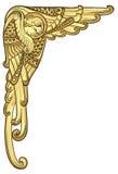 与金黄翼的葡萄酒天使 向量例证