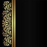 与金黄花卉边界的黑织品样式 库存图片