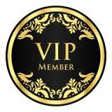 与金黄葡萄酒样式的黑VIP成员徽章 免版税库存照片