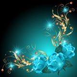 与金黄装饰品的蓝色玫瑰 免版税图库摄影