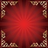 与金黄装饰角落的红色背景 图库摄影