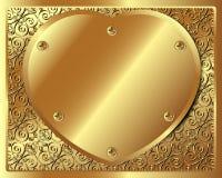 与金黄金属心脏的背景 向量例证