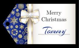 与金黄雪花a的豪华圣诞节名牌 免版税库存照片