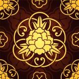 与金黄风格化牡丹的无缝的样式 图库摄影