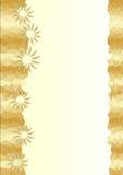 与金黄马赛克和花的背景 免版税图库摄影