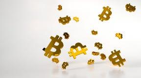 与金bitcoin标志的背景 3d翻译 库存照片