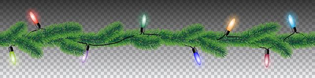 与针叶子和五颜六色的圣诞灯的无缝的传染媒介冬天针叶树分支在透明背景 库存例证