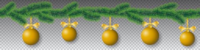 与针叶子的无缝的传染媒介冬天针叶树分支和在透明背景的垂悬的金黄圣诞节电灯泡 向量例证