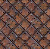 与钉子的无缝的木拼花板门纹理 免版税图库摄影