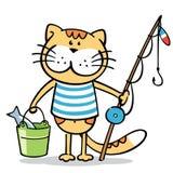 与钓鱼竿和一条鱼的猫在桶 免版税库存图片