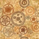 与钟表机构齿轮的葡萄酒无缝的样式在年迈的纸背景的 图库摄影