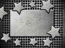 与钢星的背景 免版税库存照片