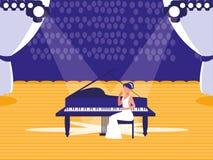 与钢琴演奏家展示的阶段 库存例证