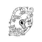 与钥匙的滑稽的猫打开心脏锁 背景装饰详细资料高雅花邀请丝带婚礼 C 免版税库存图片