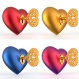 与钥匙3D集合的心脏 免版税库存图片