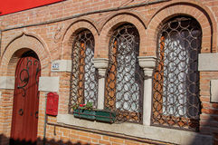 与铁栏杆的木门特写镜头和窗口在威尼斯 库存图片