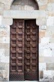 与铁螺柱的老木门 库存照片