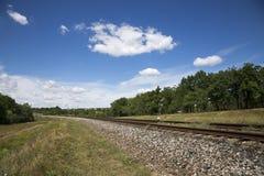 与铁路和橡木树丛的夏天风景 图库摄影