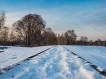 与铁路路轨的冬天风景,新西伯利亚,俄罗斯 免版税图库摄影