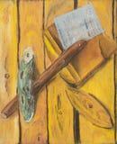 与铁锹的静物画 免版税图库摄影