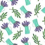 与铁水罐的无缝的样式有淡紫色和叶子花花束的  皇族释放例证