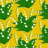与铃兰花的花卉样式 免版税库存照片