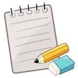 与铅笔和橡皮擦的纸 免版税库存照片